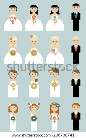 set of wedding couples. Bride and groom. people in flat - stock vector