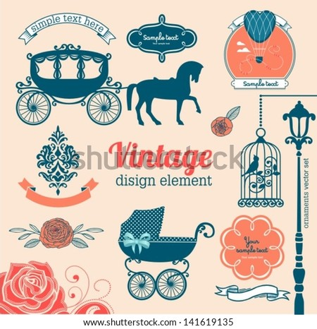 set of wedding design illustration elements and ornaments - stock vector