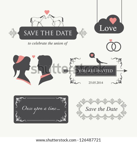 set of wedding design illustration elements and ornaments, editable. Wedding invitation card, valentines day card, happy birthday card - stock vector