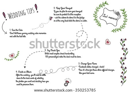 Set of wedding doodle infographics with hand-drawn elements. Post-wedding to-dos for just married.. - stock vector
