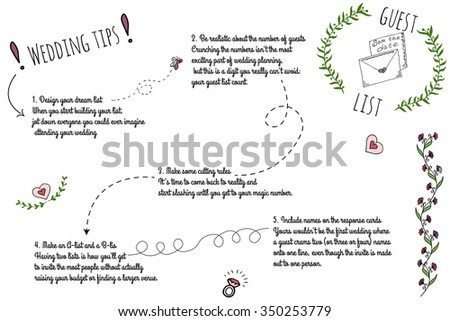 Set of wedding doodle infographics with hand-drawn elements. Wedding tips formaking guest list. - stock vector