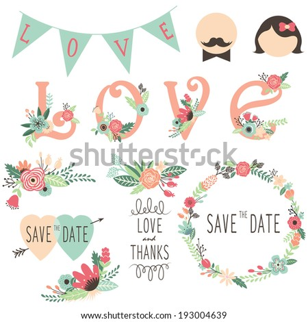 Set of wedding flora invitation design elements - stock vector