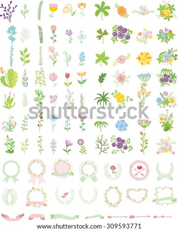 Set of wedding graphic set- wreath, flowers, arrows, hearts, laurel, ribbons and labels, brushes depicting an award achievement heraldry nobility, hand drawing vector illustration  - stock vector