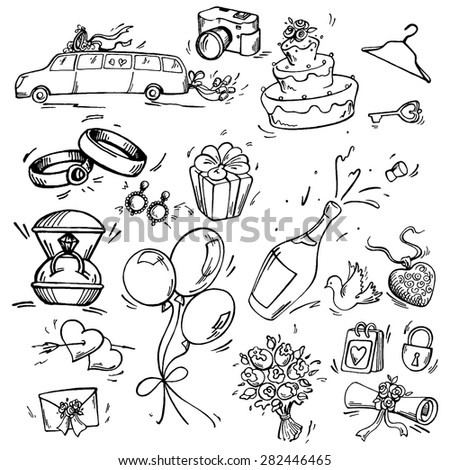 Set of wedding icon Pen sketch converted to vectors. - stock vector