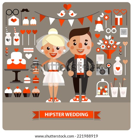 Set of Wedding icons and characters. Flat design, vector. - stock vector