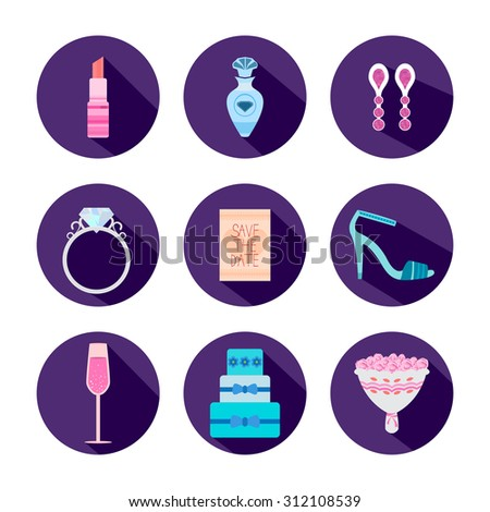 Set Of Wedding Icons In Flat Style. All About The Bride. Perfect For Use In Web Design And Print - stock vector