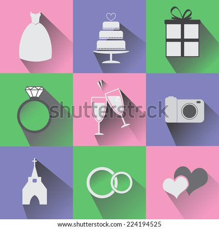 Set of 9 Wedding Icons with shadow - stock vector