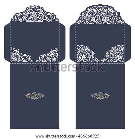 Set of 2 Wedding Invitation Baroque. Template for laser cutting. Open card. It can be used as an envelope.