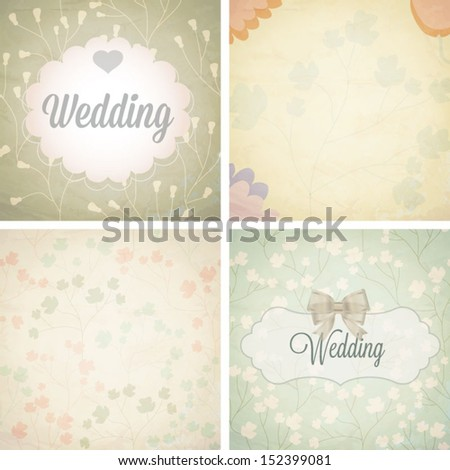 Set of wedding invitation card. Vector illustration. Seamless pattern can be used for wallpaper, web page background, pattern fills,surface textures...