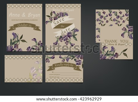 Set of wedding invitation cards - stock vector