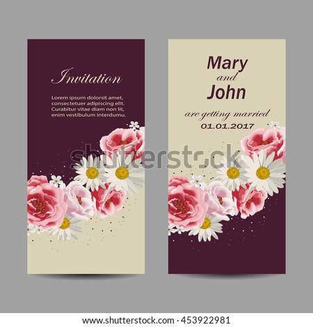 Set wedding invitation cards design beautiful stock vector set of wedding invitation cards design beautiful flowers on purple and beige background vector stopboris Images