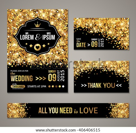 Set of wedding invitation cards design. Gold confetti and black background. Vector illustration. Save the date. Retro figured label. Typographic template for your text. Glittering dust. - stock vector