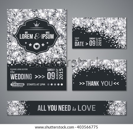 Set of wedding invitation cards design. Silver confetti and black background. Vector illustration. Save the date. Retro figured label. Typographic template for your text.  Glittering dust. - stock vector