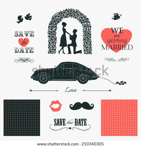 Set of wedding invitation design elements: silhouette of bride and groom, wedding car, birds, bells, archway, moustache and lips. Vintage designers toolkit and typographic elements - stock vector
