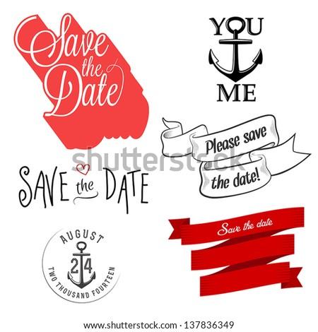 Set of wedding invitation typographic design elements - stock vector
