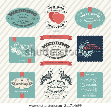 Set of wedding invitation vintage design elements - stock vector