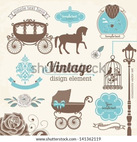 Set of wedding invitation vintage design elements, designers toolkit - stock vector