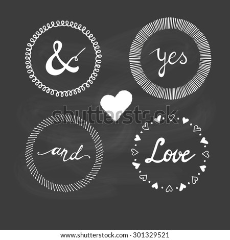 Set of wedding invitation vintage typographic design elements. - stock vector
