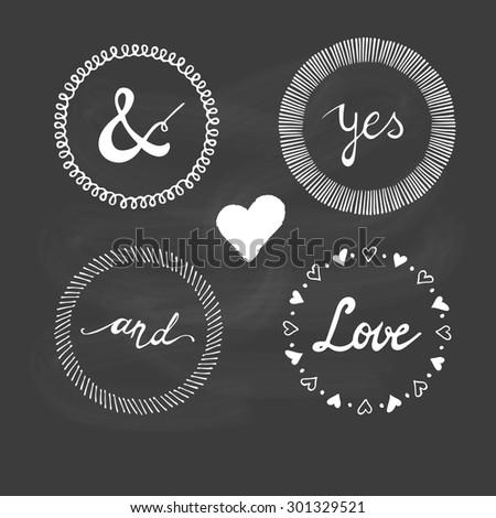 Set of wedding invitation vintage typographic design elements. - stock vector