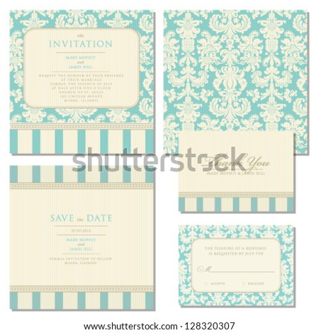 Set of wedding invitations and announcements with vintage background artwork. Ornate damask background. Set of wedding invitations and announcements with vintage background artwork. Damask background