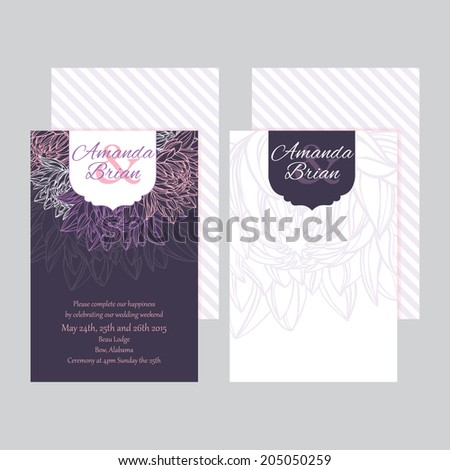 Set of wedding invitations card with floral background vector eps10 - stock vector