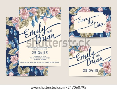 Set of Wedding Invitations Template. Vector Illustration. - stock vector