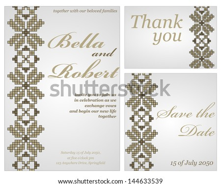 Set of wedding or invitation card. abstract vector ukrainian flower pattern background