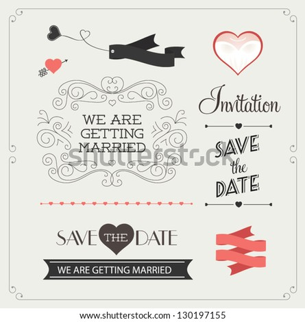 Set of wedding ornaments and decorative elements, vintage banner, ribbon, labels, frames, badge, stickers. Vector love element. - stock vector