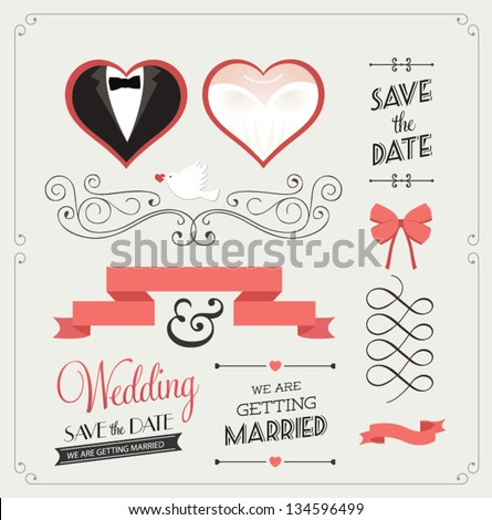 Set of wedding ornaments and decorative elements, vintage banner, ribbon, labels, frames, badge, stickers. Vector love element.