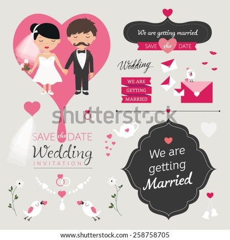 Set of wedding ornaments and decorative elements, vintage banner, ribbon, labels, frames, badge, stickers.  Bride and groom Wedding Party vector illustration.