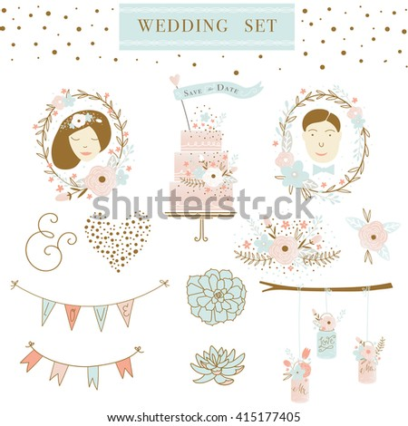Set of wedding ornaments and decorative elements, vintage banner, ribbon, labels, frames, badge, stickers. Vector love element. Wedding graphic set with succulents, wreath and flowers.  - stock vector