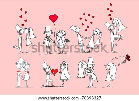 set of wedding pictures, bride and groom in love, vector - stock vector