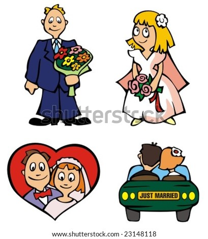 Set of wedding pictures, vector illustration