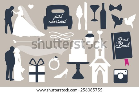 Set of wedding pictures. Vector silhouettes of people. - stock vector