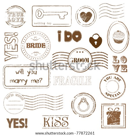 Set Of Wedding Postage Stamps - stock vector