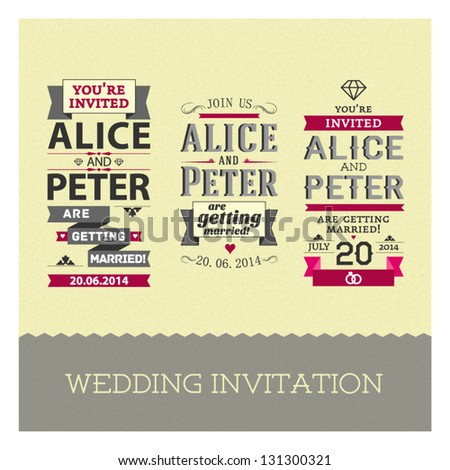 Set of wedding stamps invitations - stock vector