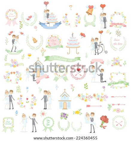 Set of wedding template design elements for invitation cards  - stock vector