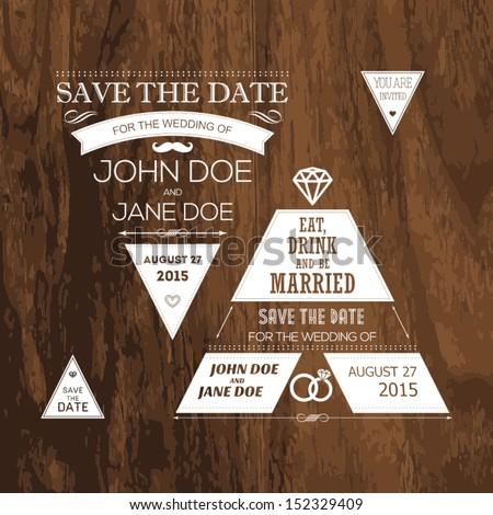 Set of wedding typography tree - stock vector