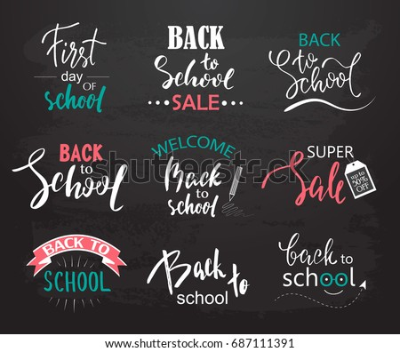 Set of Welcome back to school labels. School Background. Back to school sale tag. Vector illustration. Hand drawn lettering badges. Typography emblem set