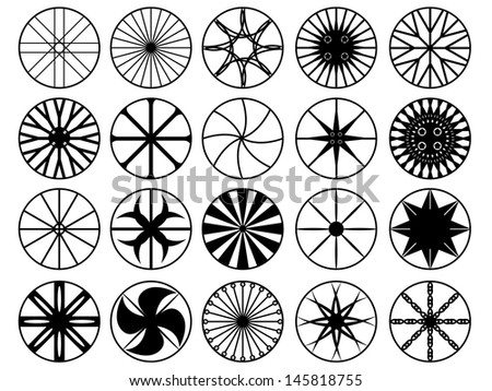 Set of wheel rims illustrated on white - stock vector