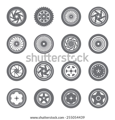 Set of wheel rims with tire - stock vector