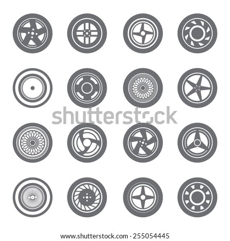 Set of wheel rims with tire isolated on white background - stock vector