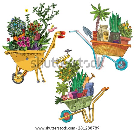 set of wheelbarrows full of plants - cartoon - stock vector