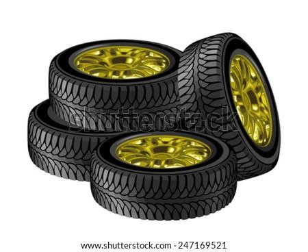 Set of wheels - stock vector