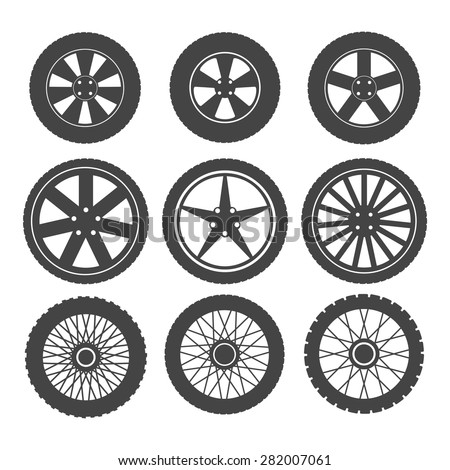 Set of wheels for cars and motorcycles on a white background - stock vector