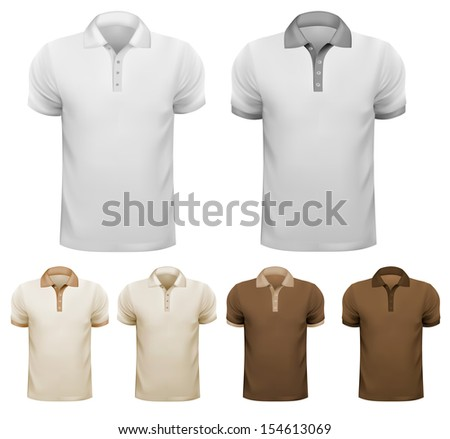 Set of white and colorful male shirts. Vector.  - stock vector