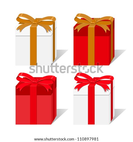 Set of white and red gift boxes isolated on white background - stock vector