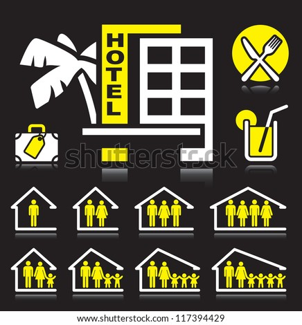 Set of white and yellow hotel icons. - stock vector