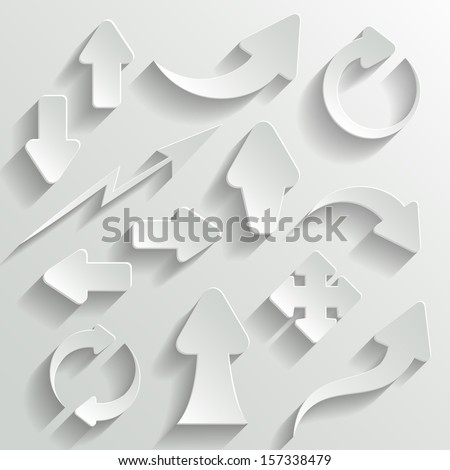 Set of White Arrows with Shadow - stock vector