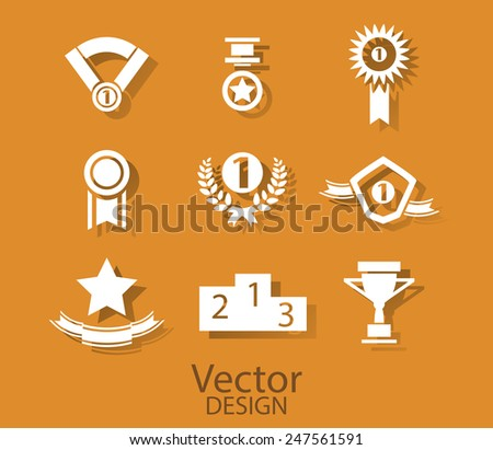 Set of white award success and victory icons with trophies stars cups ribbons rosettes medals medallions wreath and a podium on orange - stock vector